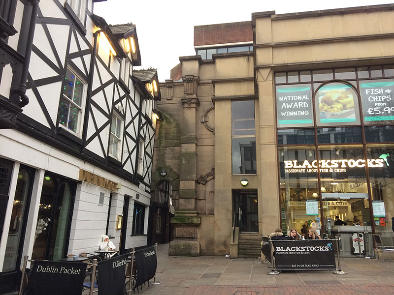 Wall from original Chester Market incorporated into modern buildings